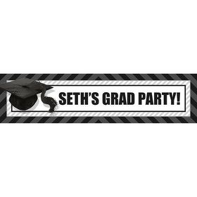 White Caps Off Graduation Personalized Banner (Each)