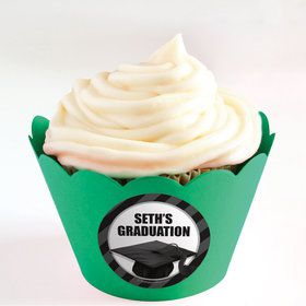 White Caps Off Graduation Personalized Cupcake Wrappers (Set of 24)