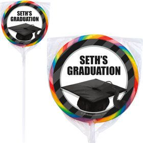 White Caps Off Graduation Personalized Lollipops (12 Pack)