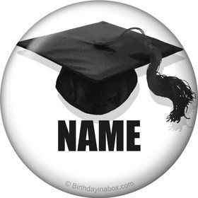 White Caps Off Graduation Personalized Mini Button (Each)