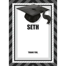 White Caps Off Graduation Personalized Thank You (Each)