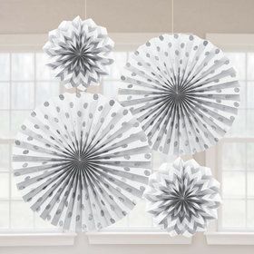 White Glitter Paper Fan Decorations (4 Pack)