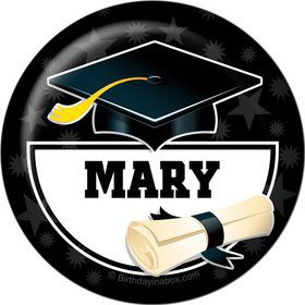 White Grad Personalized Button (Each)