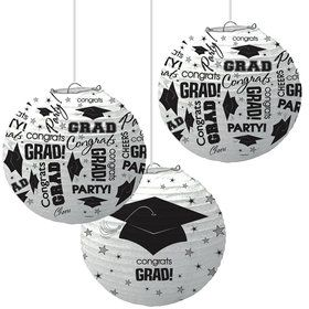 White Graduation Paper Lanterns (3 Count)