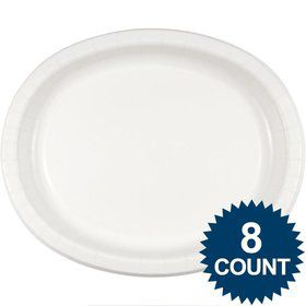 White Heavy Duty Paper Oval Platter (8 Pack)