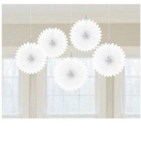 White Mini Hanging Fan Decorations
