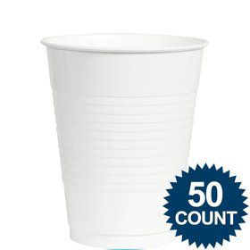 White Plastic 12 oz. Cup, 50 ct.