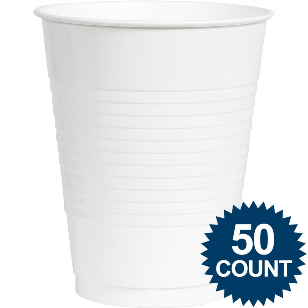 White Plastic 16 oz. Cup, 50 ct. - Party Supplies BB100105