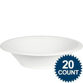 White Plastic Bowls, 12 oz. (20 count)