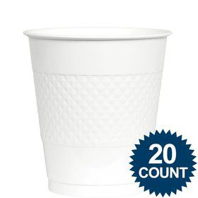 White Plastic Cups, 12 oz.