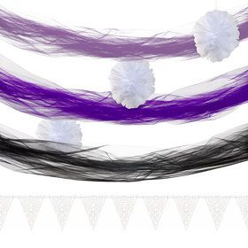 White Purple Tulle Decor Kit