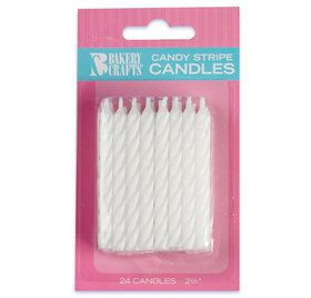 White Stripe Birthday Candles (24)