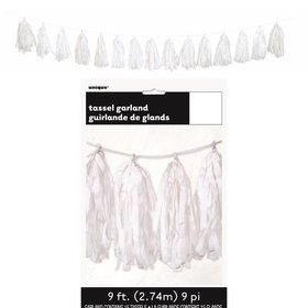 White Tissue Tassel 9' Garland