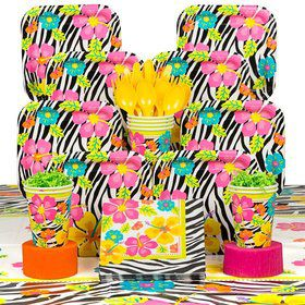 Wild Luau Party Deluxe Tableware Kit Serves 16