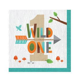Wild One Woodland 1st Birthday Lunch Napkins (16)