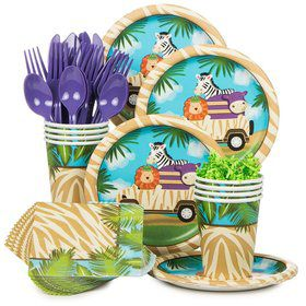 Wild Safari Birthday Party Standard Tableware Kit Serves 8
