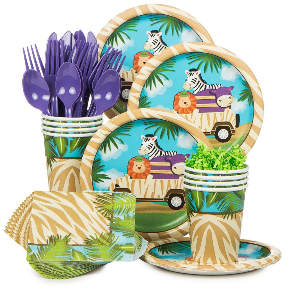 Wild Safari Birthday Party Supplies Kit (Serves 8) BBKIT684