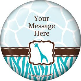 Wild Safari Blue Personalized Button (Each)