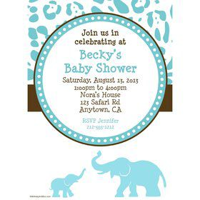 Wild Safari Blue Personalized Invitation (Each)