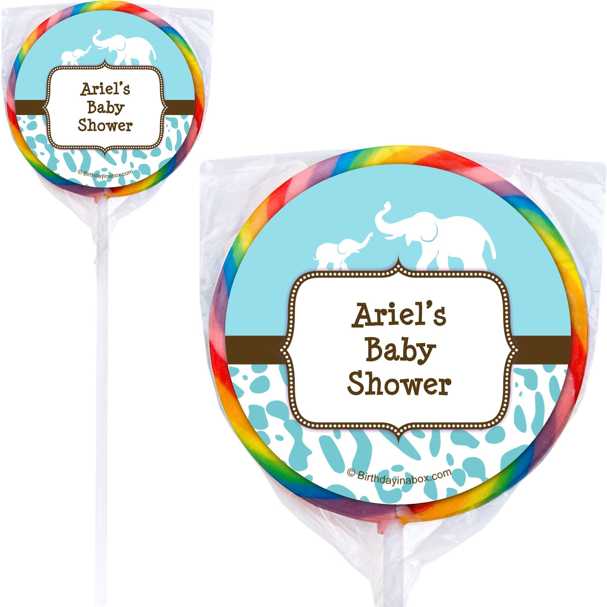 Wild Safari Blue Personalized Lollipops (12 Pack) BB1357PP