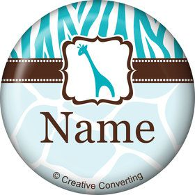 Wild Safari Blue Personalized Mini Button (Each)