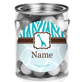 Wild Safari Blue Personalized Mini Paint Cans (12 Count)