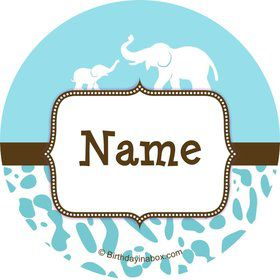 Wild Safari Blue Personalized Mini Stickers (Sheet of 24)