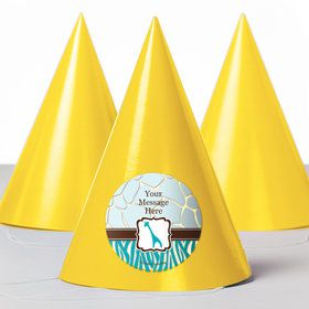 Wild Safari Blue Personalized Party Hats (8 Count)