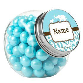 Wild Safari Blue Personalized Plain Glass Jars (12 Count)