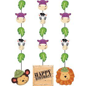 "Wild Safari Hanging 36"" Decorations w/ Cutouts (3 Piece)"