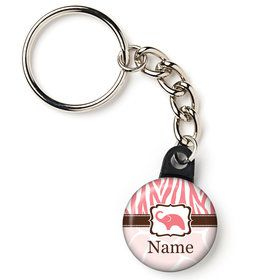 "Wild Safari Pink Personalized 1"" Mini Key Chain (Each)"