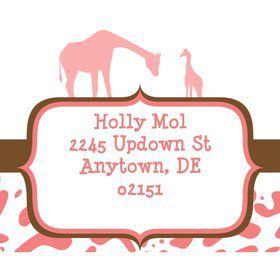 Wild Safari Pink Personalized Address Labels (Sheet of 15)
