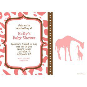 Wild Safari Pink Personalized Invitation (Each)