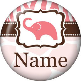Wild Safari Pink Personalized Mini Button (Each)