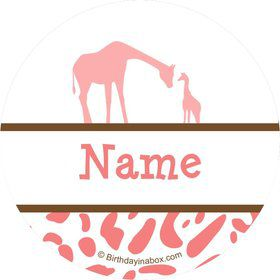 Wild Safari Pink Personalized Mini Stickers (Sheet of 24)
