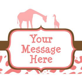 Wild Safari Pink Personalized Rectangular Stickers (Sheet of 15)