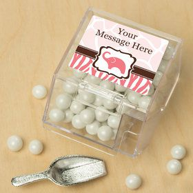 Wild Safari PinkPersonalized Candy Bin with Candy Scoop (10 Count)