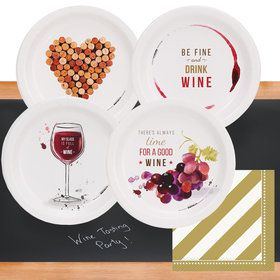 Wine Party 32 pc Appetizer Pack w/ Chalkboard Runner