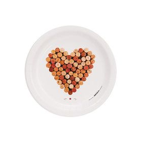 Wine Party Heart of Wine Corks Cocktail Plate (8)