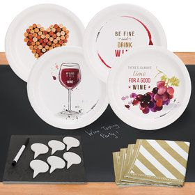 Wine Party32 pc Appetizer Pack w/ Chalkboard Runner Cheese Board