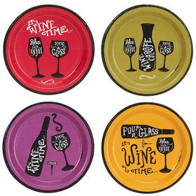 "Wine Time Party Assorted 7"" Appetizer Plates"