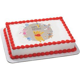 Winnie the Pooh 1st Birthday Quarter Sheet Edible Cake Topper (Each)