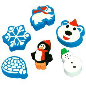 Winter Fun Erasers (12 Count)