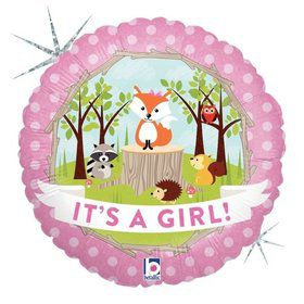 "Woodland Baby Girl 18"" Balloon"