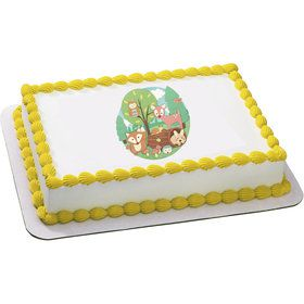 Woodland Buddies Quarter Sheet Edible Cake Topper (Each)