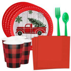 Woodland Plaid Christmas Standard Tableware Kit (Serves 8)