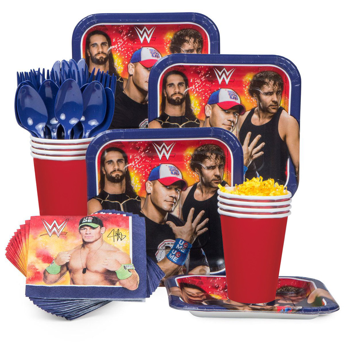 Wwe Birthday Party Standard Tableware Kit Serves 8 BBKIT958