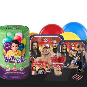 WWE Never Give Up Decoration Kit 16 Guest Party Pack - Tableware Helium Tank