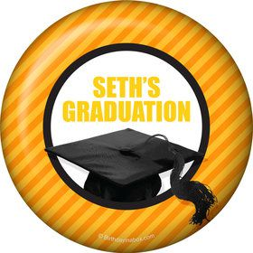 Yellow Caps Off Graduation Personalized Button (Each)