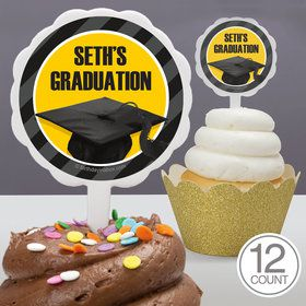 Yellow Caps Off Graduation Personalized Cupcake Picks (12 Count)